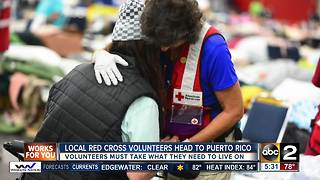 Local Red Cross volunteers make final preparations before heading to Puerto Rico