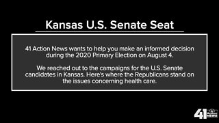 Candidates for U.S. Senate - Kansas on health care