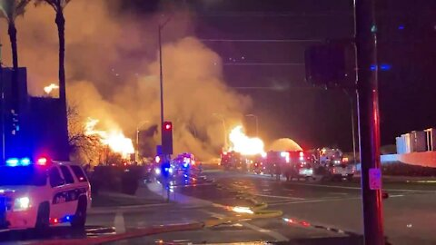 Gas line fire near 7th Street and University Drive