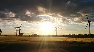 Sunset and Windmills. United Kingdom  - Video
