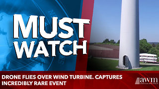 Drone Flies Over Wind Turbine. Captures Incredibly Rare Event