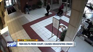 Teen bolts from court room, causes devastating crash - Video