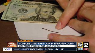 Man wanted for using counterfeit bills in Harford County - Video