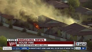 Apartment building on fire near Cheyenne, Nellis - Video