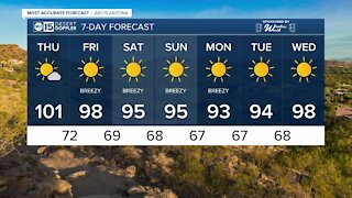More 100s possible after our first triple-digit day of the year