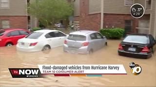 Flood-damaged vehicles from Hurricane Harvey may head to car lots - Video