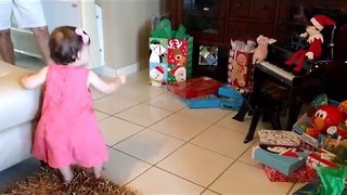 Adorable Baby Girl Reacts to Her First Christmas - Video