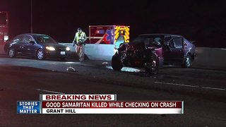 Woman checking on crash victims struck and killed on freeway - Video