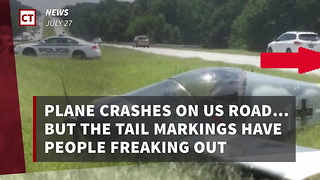 Plane Crashes On Us Road… But The Tail Markings Have People Freaking Out - Video