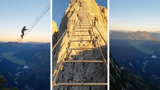 Huge ladder strung between two mountains looks like the real stairway to heaven - Video