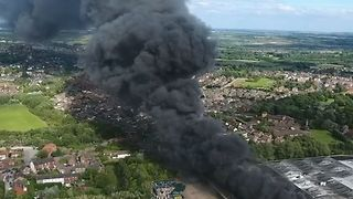 Drone Footage Shows Large Blaze at Morrisons Depot in Yorkshire - Video