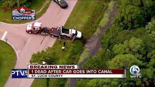 1 person dead after vehicle crashes into St. Lucie County canal - Video