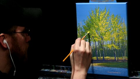Acrylic Landscape Painting of Spring Trees - Time Lapse - Artist Timothy Stanford