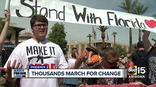 Thousands marched in Phoenix demanding change in wake of Florida school shooting - Video