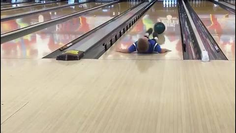 Adorable Boy Fails At Bowling