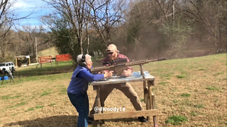 Fearless grandma shoots semi-automatic rifle with ease! - Video