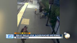 Teen at trolley stop sucker-punched and robbed - Video