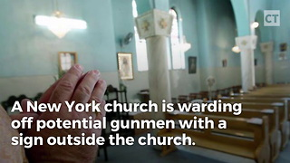 Church Warns Shooters With Sign - Video