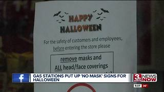 Gas stations put up 'no mask' signs for Halloween - Video