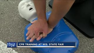 First responders offering free hands-only CPR training at Wisconsin State Fair - Video