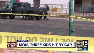 Valley mother and three kids hit by car while crossing Phoenix intersection - Video