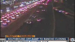 Southbound US 95 off-ramp to Rancho Drive closed Friday night - Video