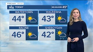 Mild temperatures with a few sprinkles and gusty winds Sunday