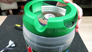 YouTuber creates DIY BBQ out of Heineken beer keg - Video
