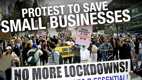 B.C. business owners flood streets of Vancouver to protest latest COVID-19 restrictions