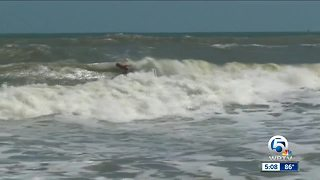 Surfers taking advantage of swells from Hurricane Maria - Video