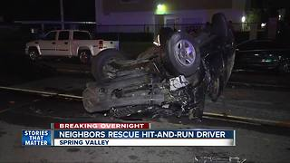 Residents help suspected hit-and-run driver after crash
