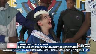 Star football player shares homecoming crown with disabled classmate - Video