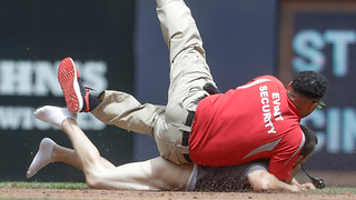 Man with No Pants Rushes onto Field, Gets TACKLED by Brewers Security - Video