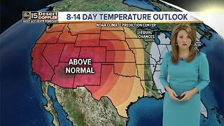 Despite the increase in cloud coverage, above average temperatures remain in the Valley