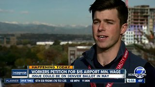 Workers petition for $15 airport minimum wage - Video