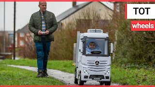 Uncle builds huge remote controlled truck for nephew