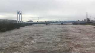 Tama River Swells with Typhoon Lan Floodwaters - Video