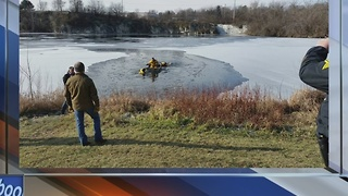 Cedarburg dive team rescues dog that fell through thin ice - Video