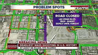 Map of road closures in Las Vegas after the shooting