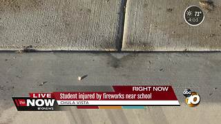 Student injured by fireworks near school - Video