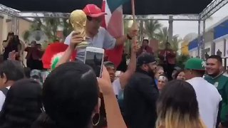 Korean Man Carried Aloft by Mexico Soccer Fans in LA After World Cup Win - Video