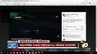 High-speed chase through Los Angeles, Orange Counties - Video
