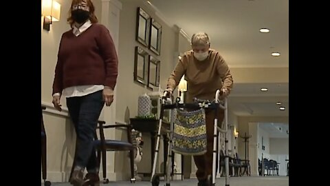 Family has first in-person visit in nearly a year at senior living home