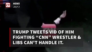 Trump Tweets Vid Of Him Fighting CNN Wrestler - Video