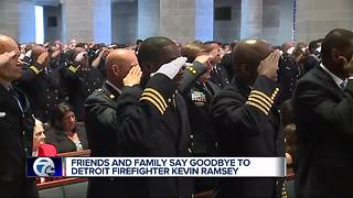 Funeral held for Detroit firefighter who died of heart attack - Video