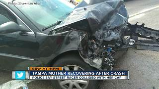 Victim recovering after street racing crash in Tampa - Video