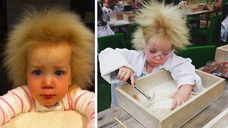 Adorable young girl has uncombable wild hair like Einstein - Video