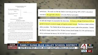 Family of student who is blind files federal lawsuit against Blue Valley Schools - Video