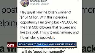 Hoax claims to give away Mega Millions winnings - Video