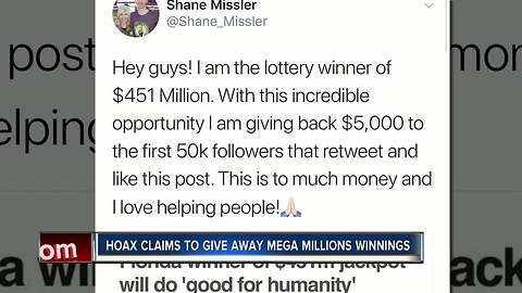 Hoax claims to give away Mega Millions winnings